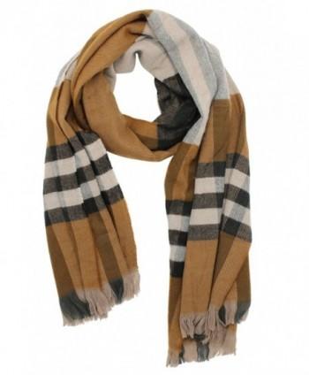 Plaid Blanket Scarf Women Warm Soft Long Pashmina Scarves Wrap Cape Shawl - Brown - CS1888MN6TE
