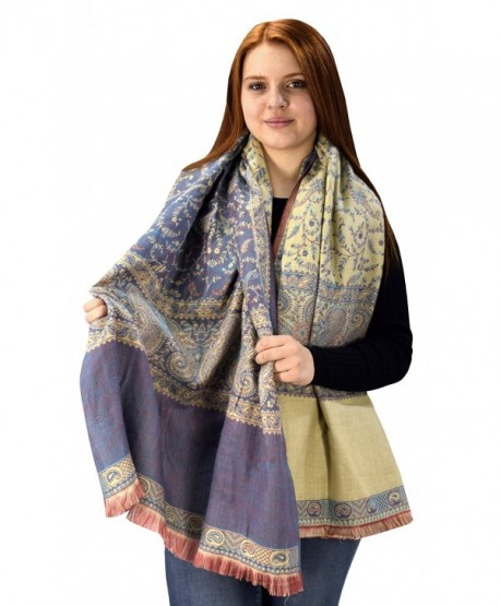 Peach Couture Blanket Scarf Thick 4 Ply Reversible Paisley Pashmina Throw Scarf Wrap Shawl - Purple Coral - CS124HUAO3H