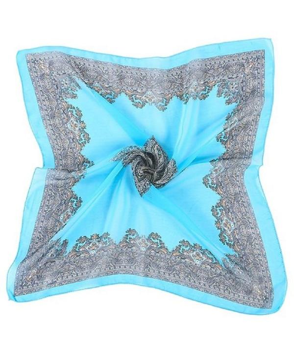 Oksale Women Printed Square Chiffon Head Wrap Scarves Scarf Kerchief Neck Shawl - Blue - CX12MBBW2WL