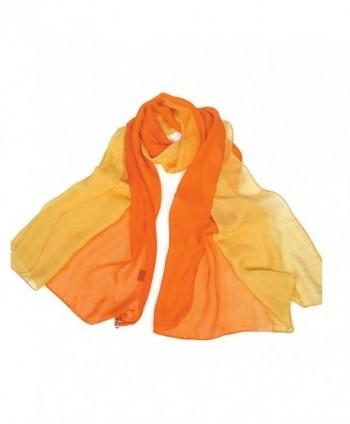 Forever Angel Women's 100% Silk Chiffon Long Scarf - Orange/Yellow - CI128CU3U2V