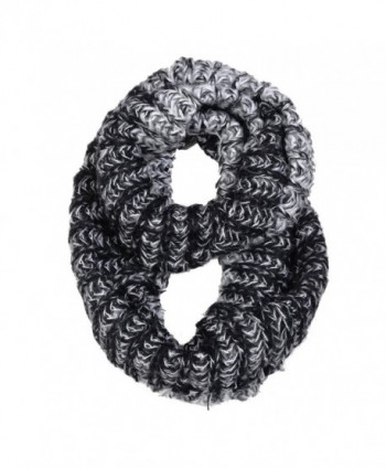 HUE21 Women's Comfy Two Tone Basic Knit Infinity Scarf - Black - CA11QN011D3