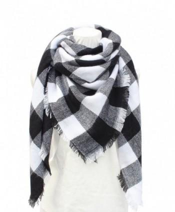 VERABENDI Women's Soft Tassels Plaid Scarf Big Grid Winter Warm Wrap Shawl - Gray - CR1884GRILM