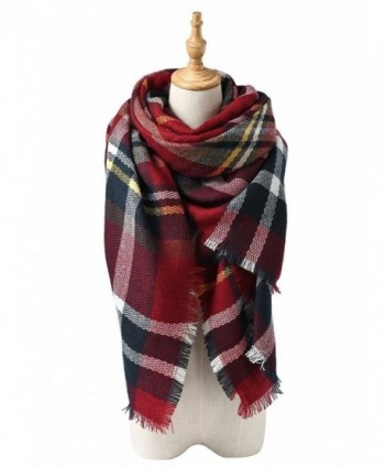 Zando Comfort Fashion Chunky Blanket - Dark Red Scarf - CW127XPOA0B