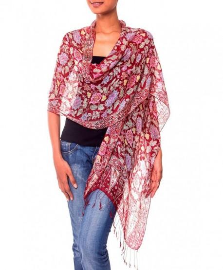 NOVICA 100% Silk Batik Shawl Wrap with Red Floral Print- 'Wine Garden' (long) - CK11D8Y3L99