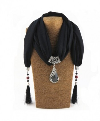 YOUR SMILE - Premium Soft Solid Color Sheer Infinity Fringe Scarf (Black/Pendant) - CG187HIHS8A