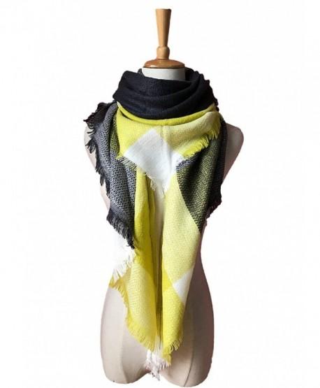 Wander Agio Womens Warm Long Shawl Wraps Large Scarves Knit Cashmere Feel Plaid Triangle Scarf - Big Yellow Grey - CF18692TN8T