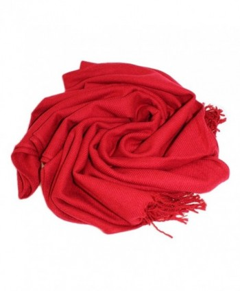 Dosoni Women Soft Pashmina Scarf Solid Color Long Shawl Wrap with Fringe - Red - CW12N22VUUW