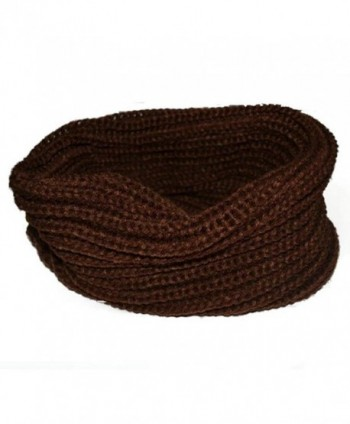 Shuohu Premium Winter Thick Twist Knit Warm Infinity Circle Scarf for Women and Men - Coffee - CO12N9O697G