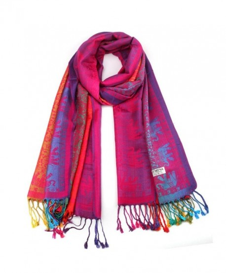 Amiley women scarfs - Hot Lady Women Double Sided Scarf Wrap Shawl - Hot Pink - C112OHVE32Q