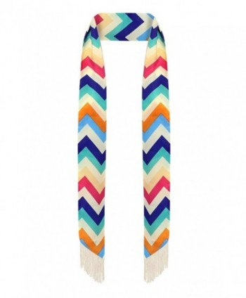Skinny scarf - Scarf tie - Sash tie - Summer scarf - with fringe - Multicolor (Chevron) - CG12EGIWFLF