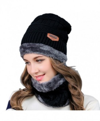 2-Pieces Winter Knit Hat and Circle Scarf with Fleece Lining- Warm Beanie Cap for Women - Black - CG186XYSLIO