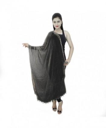 Dancing Girl Ethnic Chiffon Dupatta Scarf Chunni for Women - Black - C01825S3TH5