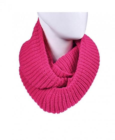 DZT1968 Unisex Girl Knit Round Shawl Wrap Scarf Warmer - Hot Pink - CS126TKLYD3