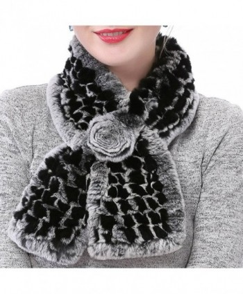 Valpeak Women's Real Rabbit Fur knitted Winter Warm Neck Wrap Scarf Rose Design - Black - CT185W4S25K