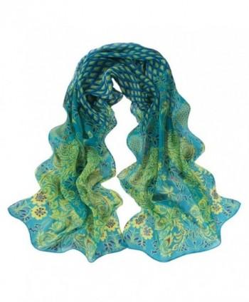 Wensltd Clearance!1 Pair Women Peacock Pattern Soft Silk Chiffon Shawl Wrap - Green - CG126P6BXUF