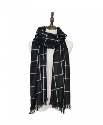 Hippih Womens Warm Soft Scarf Fashion Lattice Wrap Winter Large Blanket Shawl(Black) - CI186DI6KTH