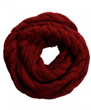NEOSAN Womens Thick Ribbed Knit Winter Infinity Circle Loop Scarf - Twist Claret - C4127NEJFXZ