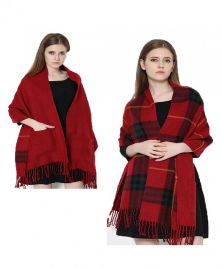 Da Ben Tai Women's Cashmere double sided fringed plaid scarf shawl with pocket - Jujube Red - CO187E0K32Z