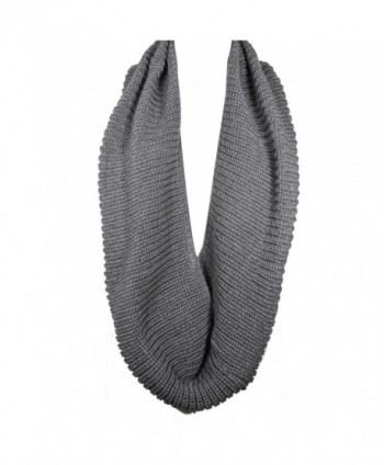 Wrapables Thick Knitted Winter Warm Infinity Scarf - Dark Grey - CE11CS86729