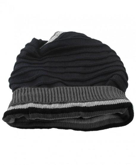 SUNYIK Unisex Slouchy Beanie Hat-Winter Scarf ChunkyKnit Baggy Cap - Black - CW129TD2Q4N