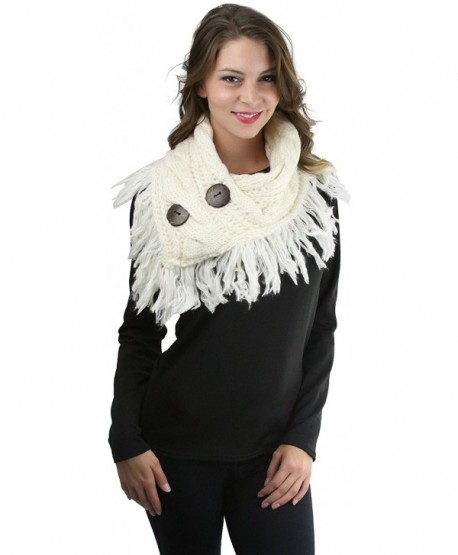 ToBeInStyle Women's Heather Fringe Shoulder Warmer with Coconut Buttons - Ivory - CG12NSGYXD5