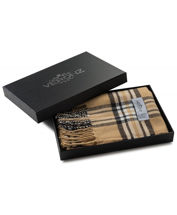 Veronz Super Soft Luxurious Classic Cashmere Feel Winter Scarf With Gift Box - Camel Plaid - CU1289TQA5D