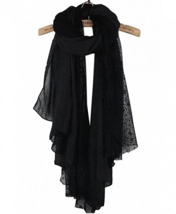NOVAWO New Women Lady Ultra Long Gorgeous style Soft scarves shawl - Black/Lace - CK11NHKPOSF