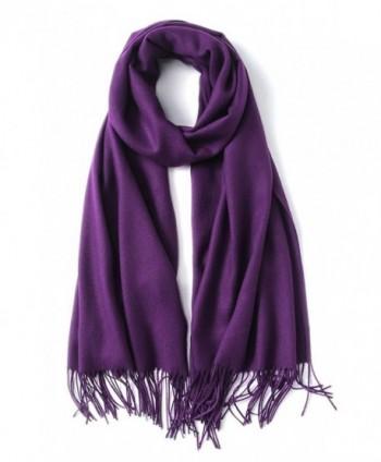 EBMORE Super Soft Solid Color Cashmere Feel Shawls Wraps Winter Light Scarf - Cashmere Purple - CI187ZL28H0