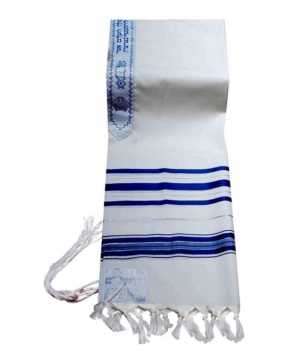 "100% Wool Tallit Prayer Shawl in Blue and Silver Stripes Size 24"" L X 72"" W - CB11224CLVP"