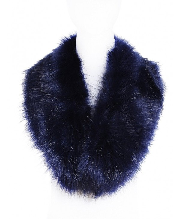 Soul Young Faux Fur Collar Women's Neck Warmer Scarf Wrap - Navy - C812LH338RH