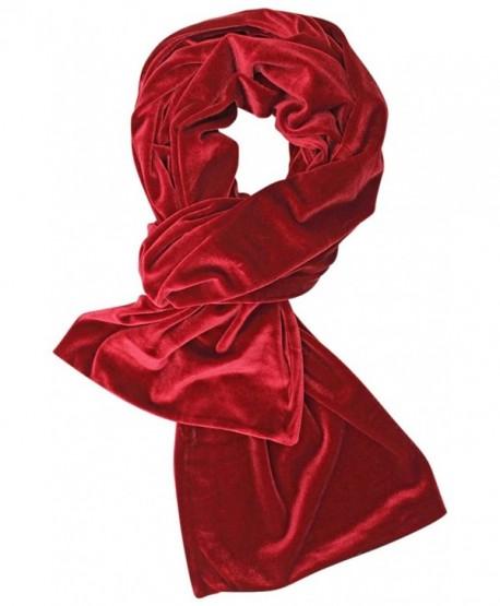 Long Velvet Evening Scarf - Red - CI128O8OS6D