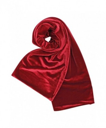 Red Long Velvet Evening Scarf in Cold Weather Scarves & Wraps