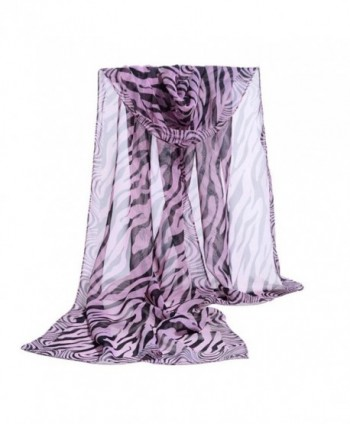 Deamyth Women Chiffon Scarf Zebra Stripe Prints Wrap Shawl Headscarf - Purple - CX12O002J8C