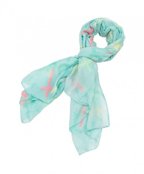 Cross Design Pastel Scarf - Blue - CU11MOG2MKL