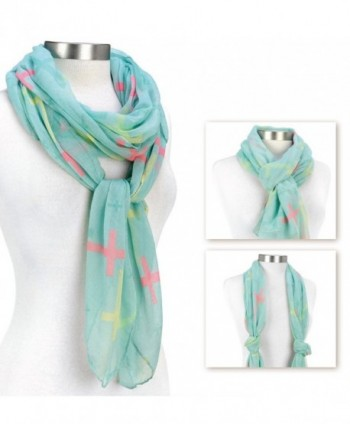 Cross Design Pastel Blue Scarf