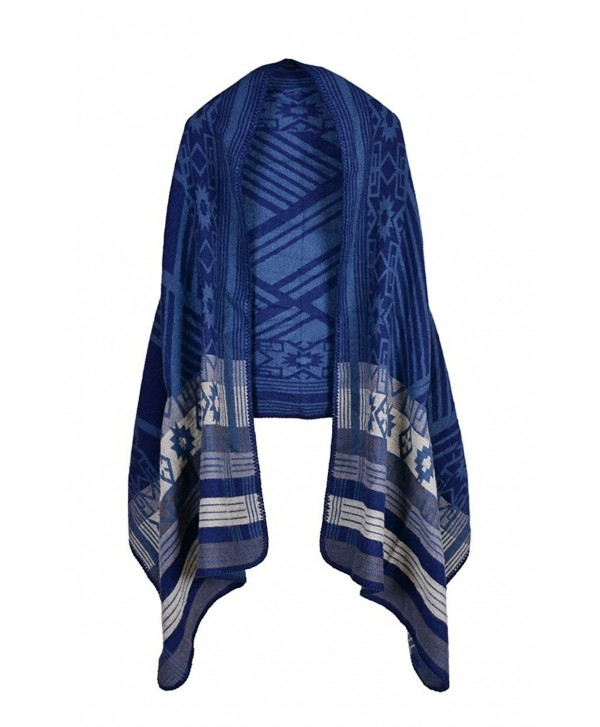 Hiwil Womens Knitted Cashmere Reversible Wrap Shawls Blanket Ponchos Cardigans Capes Coat Sweater - 19 Blue - CF186SZE9XD