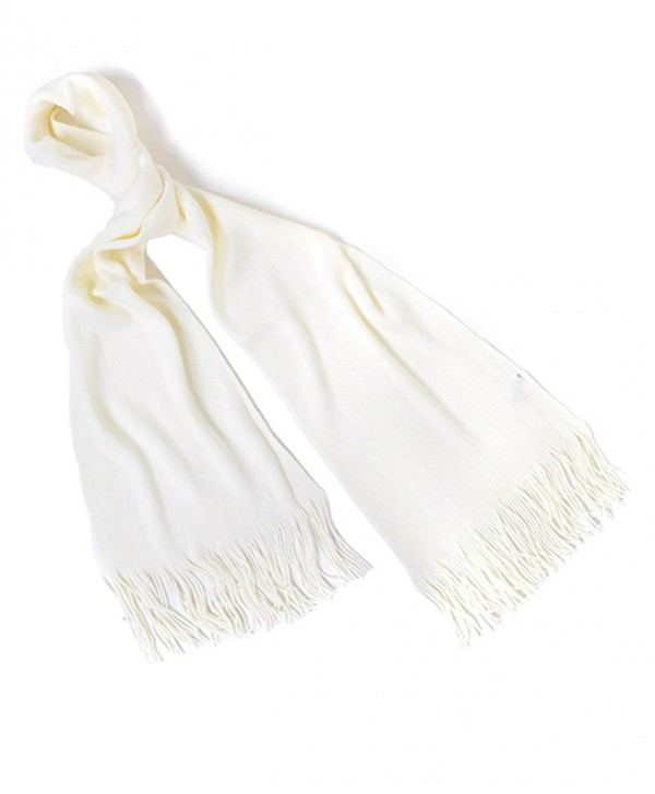 Solid Color Acrylic Unisex Scarf with Tassels - Cream - CT11QIR86HZ