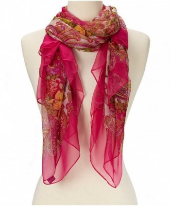 Women's Super soft Lightweight Abstract Sheer Silk Scarf - Hot Pink Floral - CM11LHF08W9