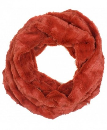 DRY77 Super Soft Box Checker Pattern Faux Fur Infinity Scarf Loop Cowl - Orange - CI127VDTO4X