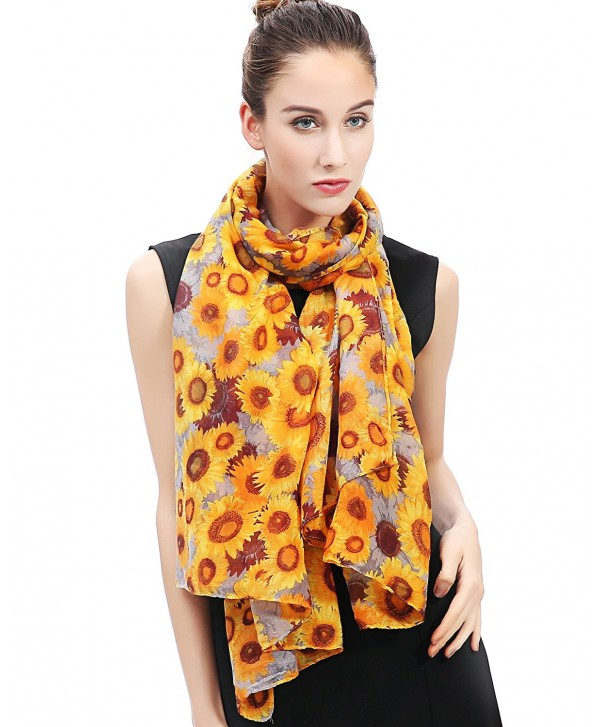 Lina & Lily Sunflowers Print Women's Large Scarf - Gold and Grey - CV1276OESPR