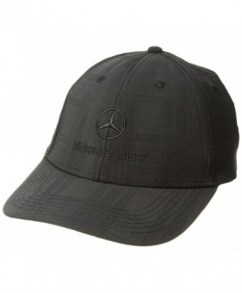 Genuine Mercedes Benz Plaid Patterned Structured Baseball Cap Hat - BLACK- Adjustable - Black - CK11VFABD79
