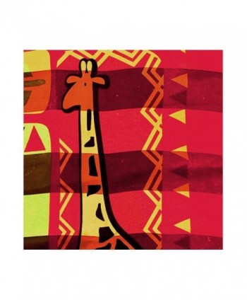"African Geometric with Giraffe Silk-Feel Lightweight Square Scarf (Red- 40"" x 40"") - CU180EGIS3H"