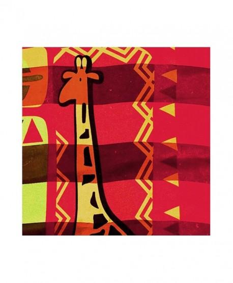 "African Geometric with Giraffe Silk-Feel Lightweight Square Scarf (Red- 40"" x 40"") - CU180EGIS3H"