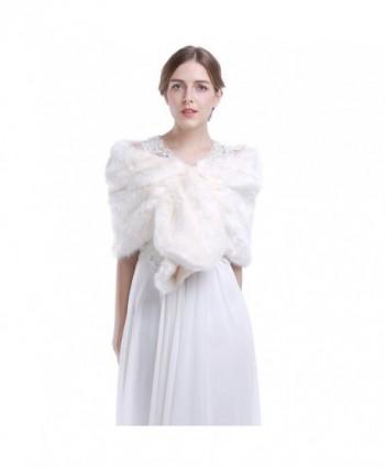 HailieBridal Ivory Sleeveless Faux Fur Bride Bridesmaid Wrap - CH11U5JL99J