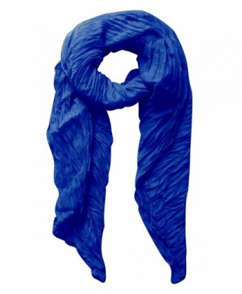 Peach Couture Solid Colorful Soft Crinkled Lightweight Versatile Wrap Scarf - Royal Blue - CZ11PT0IOK1