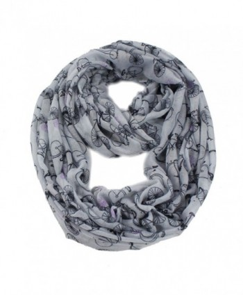 Women Lady Bicycle Bike Print Infinity Cowl Loop Casual Scarf - Gray - CZ11AUQX3WR