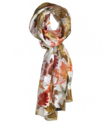 Ted and Jack - Fall Foliage Pattern Silk Feel Scarf - White Allover Leaves - CZ180S4SOZD