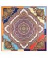 "Anshili Women's Geometric-Pattern Natural Mulberry Silk Square Scarf 40""x40"" - Type D - CR12J7A7G33"