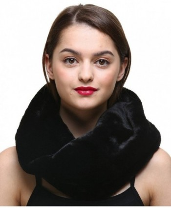 Vogueearth Women 2 Material Choose Winter Neck Warmer Fur Scarf - Faux Black - C418522EUSK
