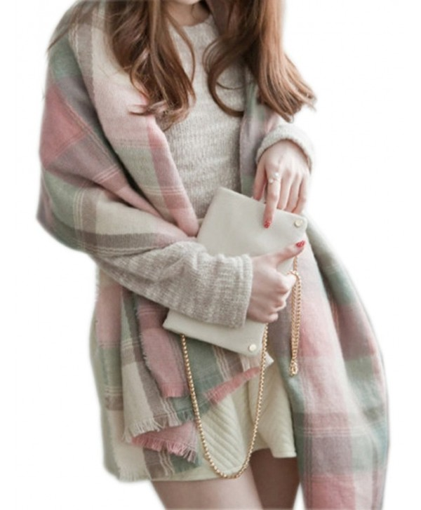 UTOVME Women's Soft Plaid Check Scarf Cashmere Wool Feel for Office Daily Wear - Cherry Pink Grey - CI126S2YBKZ